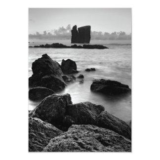Azores black and white seascape 5x7 paper invitation card