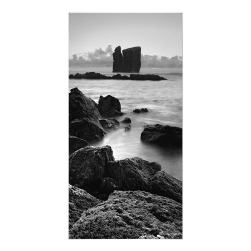 Azores black and white seascape picture card