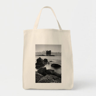 Azores black and white seascape tote bag
