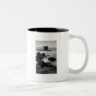 Azores black and white seascape Two-Tone coffee mug
