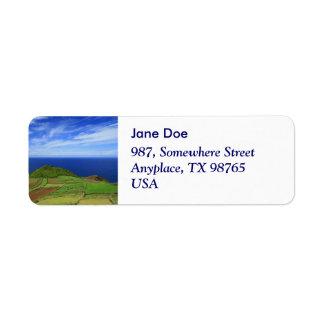 Azores coastal landscape label
