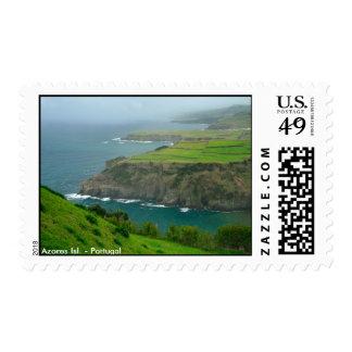 Azores coastal landscape postage stamp