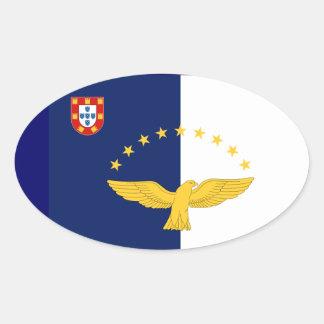 Azores* Flag European Style Oval Sticker