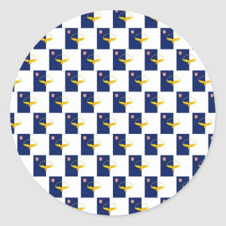 Azores flag seamless pattern classic round sticker