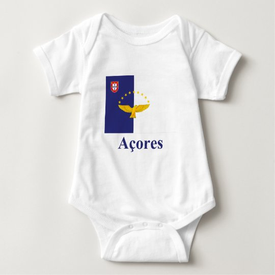 Azores Flag with Name in Portuguese Baby Bodysuit
