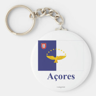 Azores Flag with Name in Portuguese Keychain