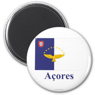 Azores Flag with Name in Portuguese 2 Inch Round Magnet