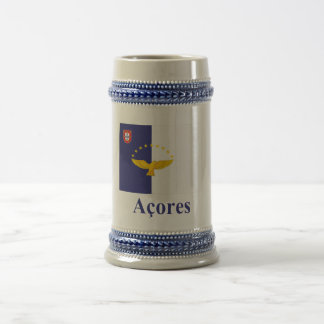 Azores Flag with Name in Portuguese 18 Oz Beer Stein