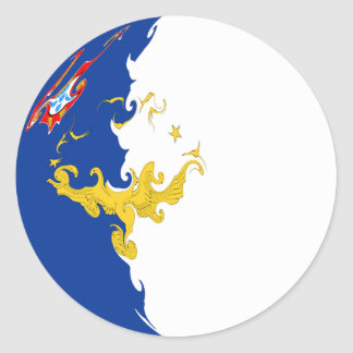 Azores Gnarly Flag Classic Round Sticker