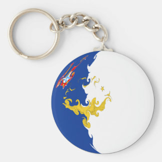 Azores Gnarly Flag Basic Round Button Keychain