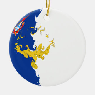 Azores Gnarly Flag Double-Sided Ceramic Round Christmas Ornament