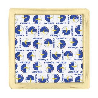 Azores islands flag gold finish lapel pin