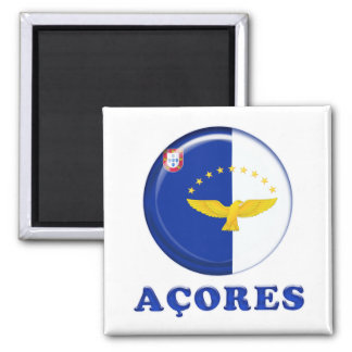 Azores islands flag 2 inch square magnet