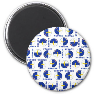 Azores islands flag 2 inch round magnet