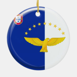 Azores islands flag Double-Sided ceramic round christmas ornament