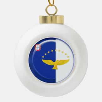 Azores islands flag ceramic ball christmas ornament