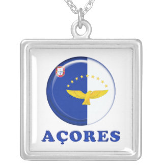 Azores islands flag silver plated necklace