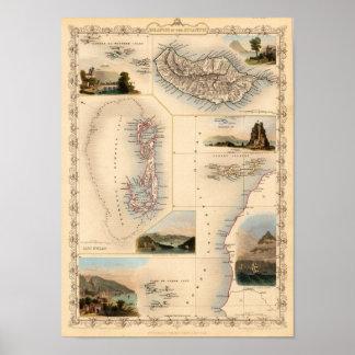 Azores, islas Canarias, reproducción 1851 Poster
