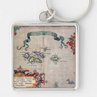 Azores Old Map - Vintage Sailing Exploration Silver-Colored Square Keychain