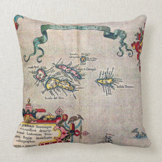 Azores Old Map - Vintage Sailing Exploration Throw Pillow
