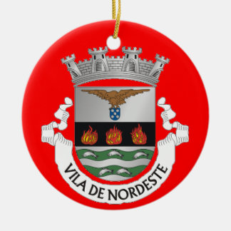 Azores - ornamento de encargo del navidad de adorno navideño redondo de cerámica