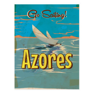 Azores vintage travel poster postcard