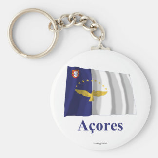 Azores Waving Flag with Name in Portuguese Basic Round Button Keychain