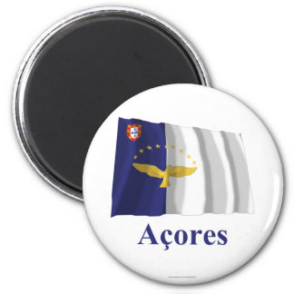 Azores Waving Flag with Name in Portuguese 2 Inch Round Magnet