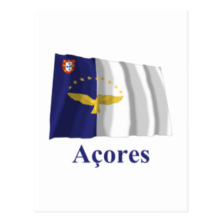 Azores Waving Flag with Name in Portuguese Postcard