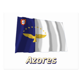 Azores Waving Flag with Name Postcard