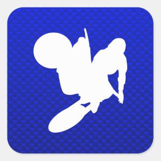 Azote azul del motocrós calcomania cuadradas personalizada