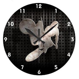 Azote del motocrós; Negro fresco Reloj Redondo Grande