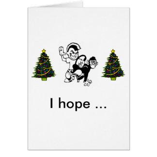 Azote--Mono, árbol de navidad, tre del navidad… Tarjeta De Felicitación