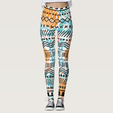 Aztec Themed Aztec Abstract Floral CORAL MINT Black Pattern Leggings
