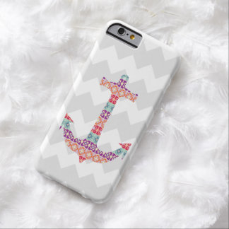 Aztec Anchor Grey Chevron Barely There iPhone 6 Case