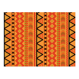 Aztec Andes Pattern Red Orange Abstract Geometric Postcard