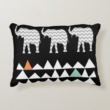 Aztec Themed Aztec Andes Tribal Elephants Chevrons on Black Decorative Pillow