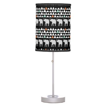 Aztec Themed Aztec Andes Tribal Elephants Chevrons on Black Desk Lamp
