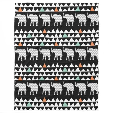 Aztec Themed Aztec Andes Tribal Elephants Chevrons on Black Fleece Blanket