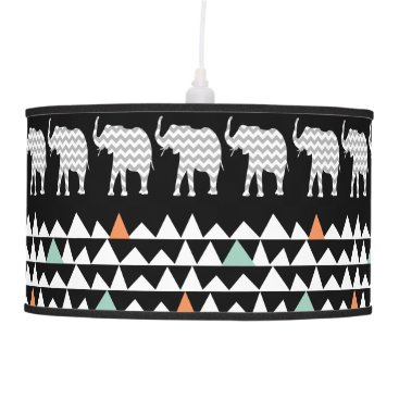 Aztec Themed Aztec Andes Tribal Elephants Chevrons on Black Hanging Lamp