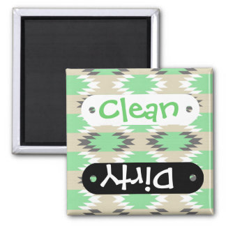 Aztec Andes Tribal Green Gray Native American 2 Inch Square Magnet