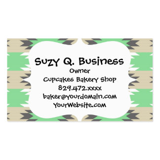 Aztec Andes Tribal Green Gray Native American Double-Sided Standard Business Cards (Pack Of 100)