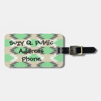 Aztec Andes Tribal Green Gray Native American Luggage Tag
