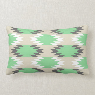 Aztec Andes Tribal Green Gray Native American Pillow