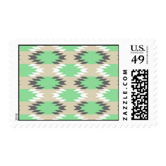 Aztec Andes Tribal Green Gray Native American Postage Stamp