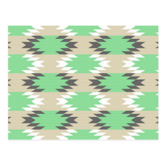 Aztec Andes Tribal Green Gray Native American Postcard