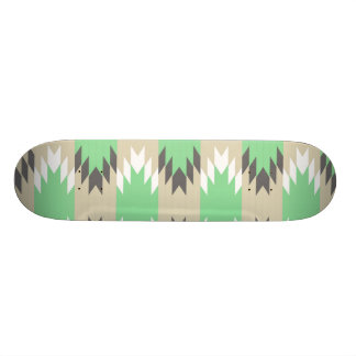 Aztec Andes Tribal Green Gray Native American Skate Board Deck
