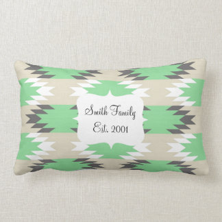 Aztec Andes Tribal Green Gray Native American Throw Pillow