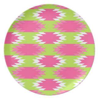 Aztec Andes Tribal Hot Pink Lime Green Pattern Dinner Plate