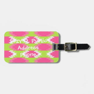 Aztec Andes Tribal Hot Pink Lime Green Pattern Luggage Tag